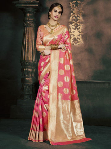 Traditional Pink Pure Banarsi Silk Jacqaurd Saree