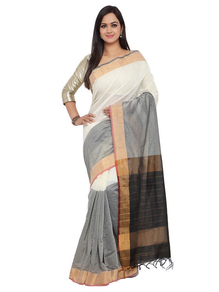White and Fossil Grey Cotton Silk Saree