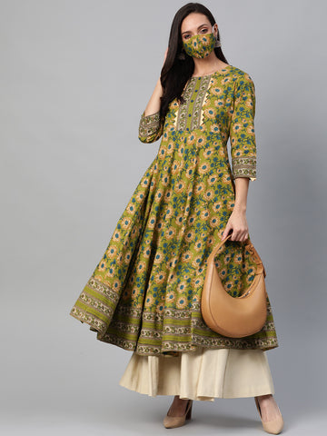 Green Color Cotton Printed Anarkali Kurti