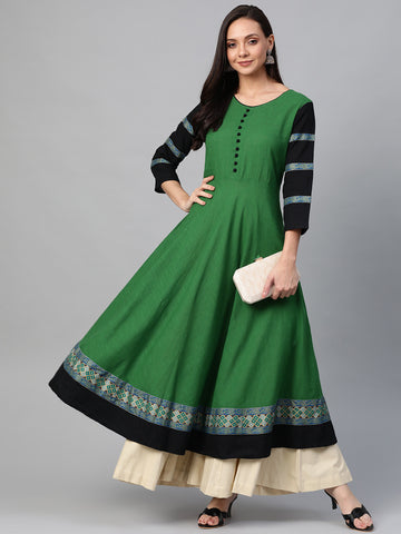 Green Color Cotton Anarkali Kurti