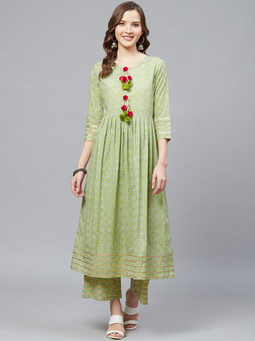 Green Color Cotton Printed Anarkali Kurti with Palazzo