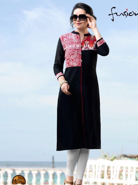 Black and Red South Cotton Kurti