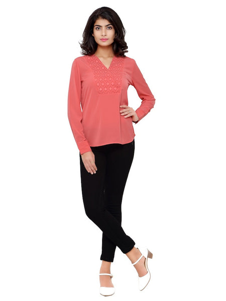 Coral Pink Fashion Top
