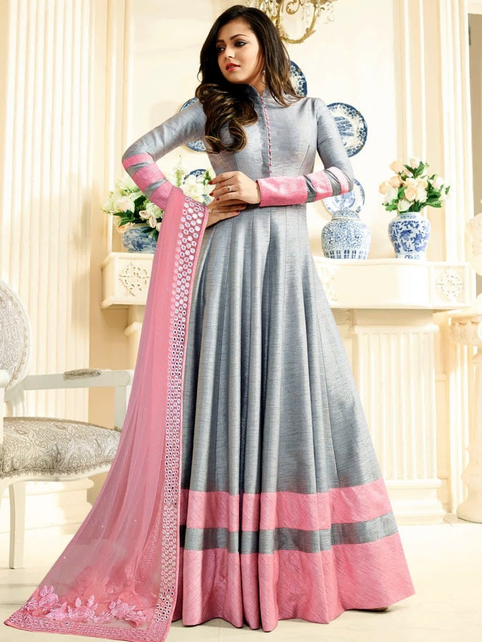 6f5d9a7286 Drashti Dhami Designer Grey Color Embroidered Long Anarkali Suit –  PurpleTulsi.com