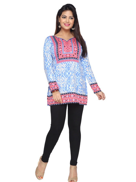 Designer Light Blue and Pink Kurti