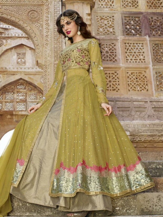 Pear Green and Gold Anarkali Suit - PurpleTulsi.com  - 1
