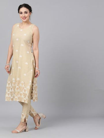 Beige Color Cotton Printed Straight Cut Kurti with Palazzo