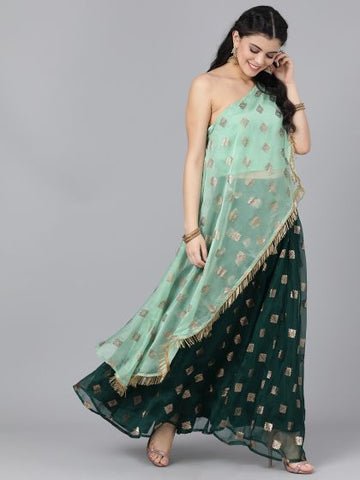 Mint and Green Color Organza Printed Lehenga with Choli