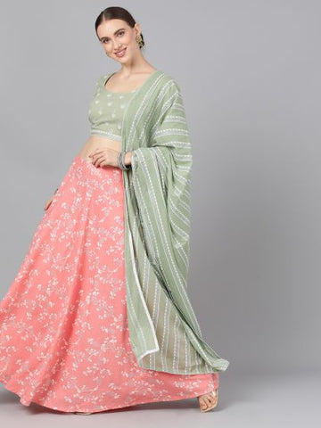 Pink and Mint Color Cotton Printed Lehenga with Choli