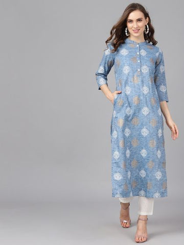Blue Color Rayon Printed Straight Cut Kurti