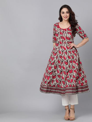 Brown and Pink Color Rayon Printed Anarkali Kurti