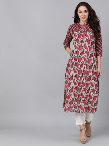 Brown and Pink Color Rayon Printed Straight Cut Kurti