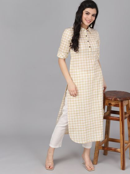 Cream and White Color Cotton Printed Straight Cut Kurti