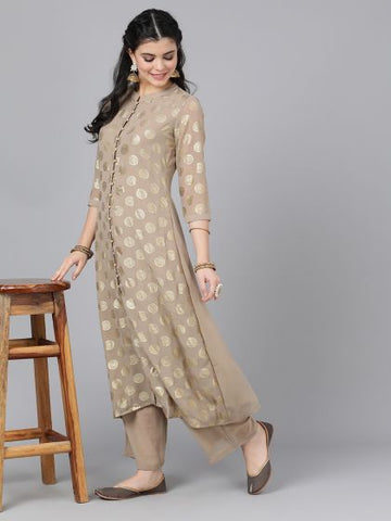 Beige Color Georgette Printed Anarkali Kurti