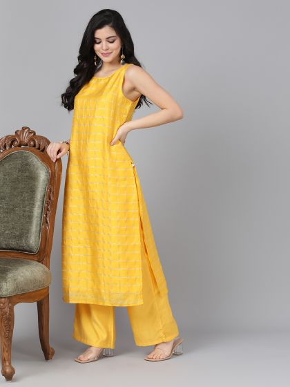 Yellow Color Poly Silk Straight Cut Kurti with Palazzo