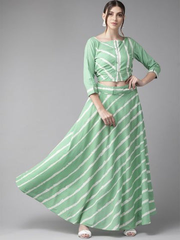 Green Color Cotton Printed Top & Skirt