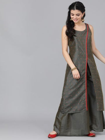 Brown Color Silk Blend Straight Cut Kurti with Palazzo