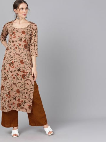 Brown Color Cotton Printed Straight Cut Kurti