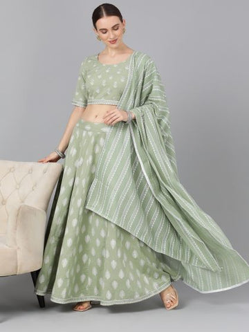 Green Color Cotton Printed Lehenga with Choli
