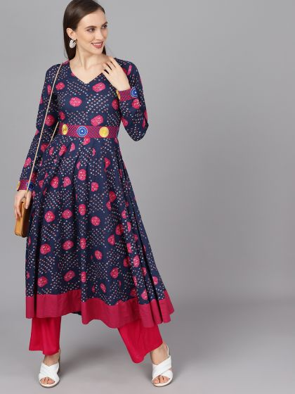 Navy Blue Color Rayon Printed Anarkali Kurti