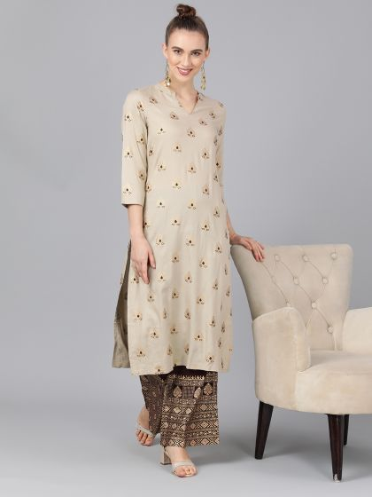 Cream Color Cotton Printed Straight Cut Kurti with Palazzo