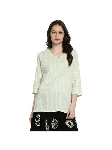 Green Color Cotton Short Solid Kurti