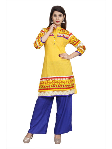 Yellow Color Cotton Straight Abstract Kurti