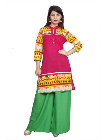 Pink Color Cotton Straight Abstract Kurti