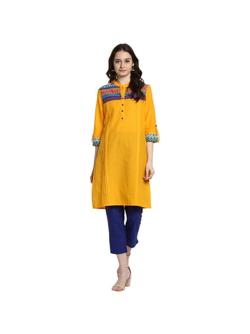 Yellow Color Cotton Medium Printed Kurti