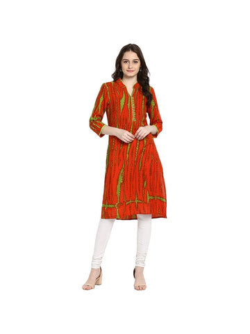 Red Color Cotton Medium Tie and Dye Kurti