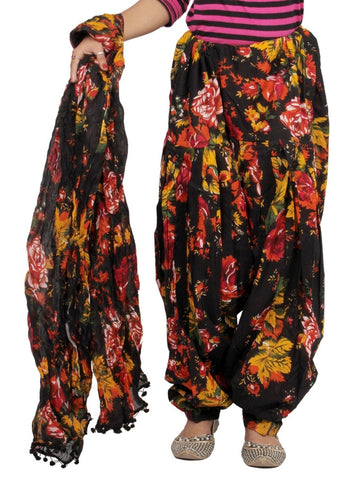 Printed floral print Black, Yellow Patiala Set