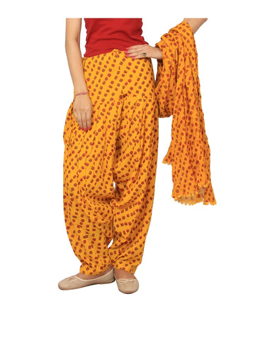 Printed bhandhej yellow Patiala Set