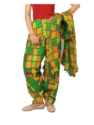 Printed printed yellow Patiala Set
