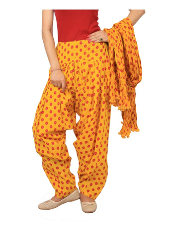 Printed bhandhej yellow, red Patiala Set
