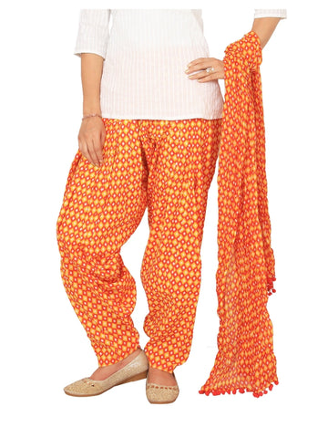 Printed printed Yellow, orange Patiala Set