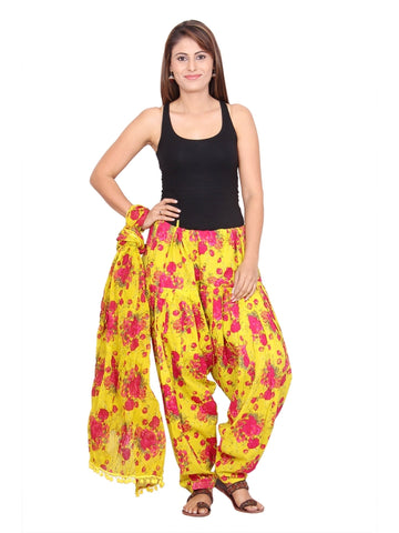 Printed printed yellow, Pink Patiala Set