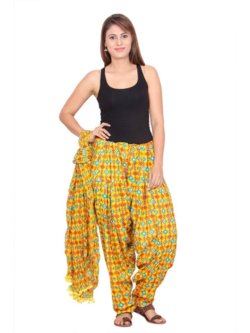 Printed Yellow Patiala with Dupatta  Set