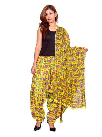 Printed Yellow Color Patiala Set