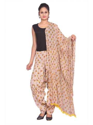 Printed Yellow Patiala Set