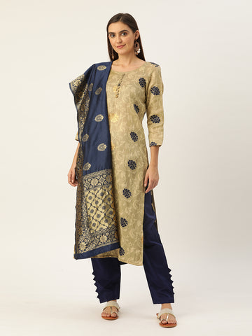 Navy Blue Jacquard Zari Woven Straight Cut Suit