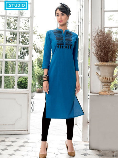 Cobalt Blue Cotton Kurti - PurpleTulsi.com