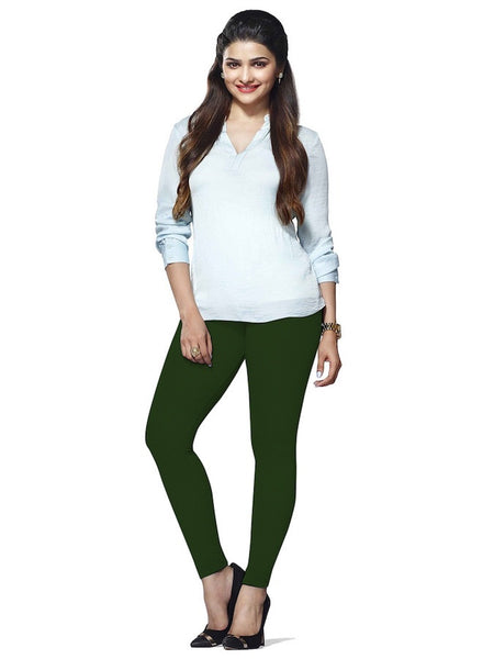 Juniper Green Cotton Lycra Leggings - PurpleTulsi.com