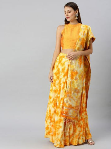 Yellow Color Rayon Printed Lehenga with Choli