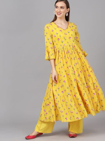 Yellow Cotton Printed Anarkali Kurti