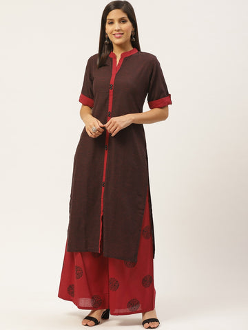 Brown Cotton Block Printed Straight Cut Kurti with Palazzo