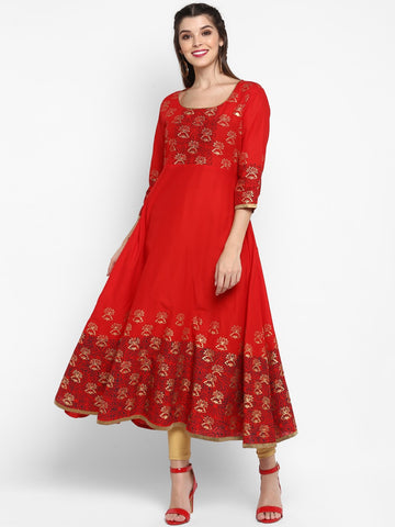 Multi Color Cotton Block Printed Anarkali Kurti