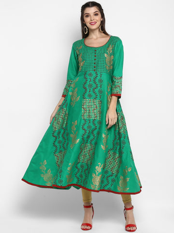 Sea Green Cotton Block Printed Anarkali Kurti