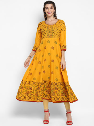 Mustard Cotton Block Printed Anarkali Kurti