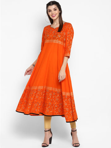 Orange Cotton Block Printed Anarkali Kurti