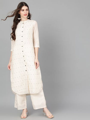 Off White Cotton Silk Printed Straight Cut Kurti